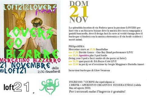 Mercatino pre-Natale al Loft 21 con LOVERS GO BIZARRE: aperitivo, vintage, vin brulet, musica e burlesque
