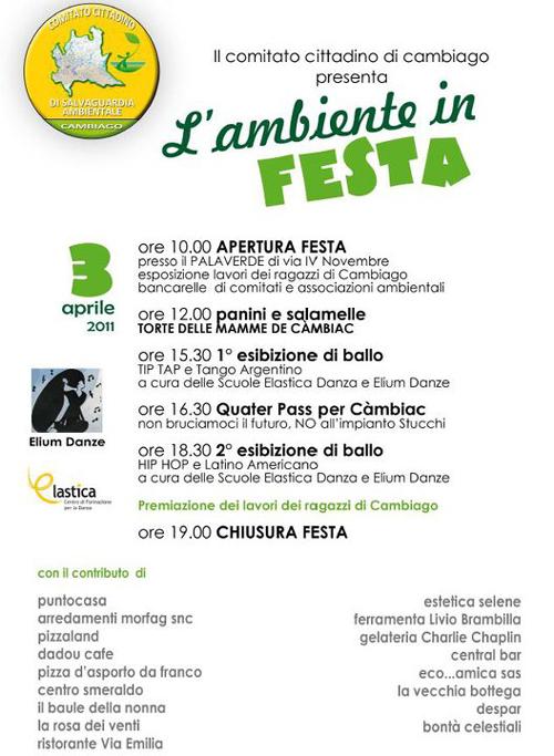 Green party. Cambiago in fiera domenica 3 aprile 2011 contro l'ecomostro, la discarica Stucchi