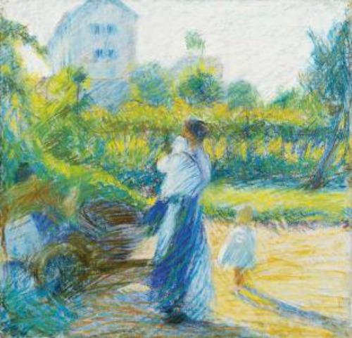 Donna in giardino, 1910Pastello su carta applicata su tela, 38 X 37 cm Milano, Gallerie di Piazza Scala.