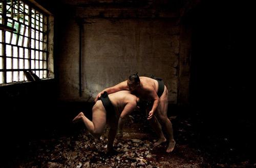 Lottatori di sumo e cervi fiabeschi