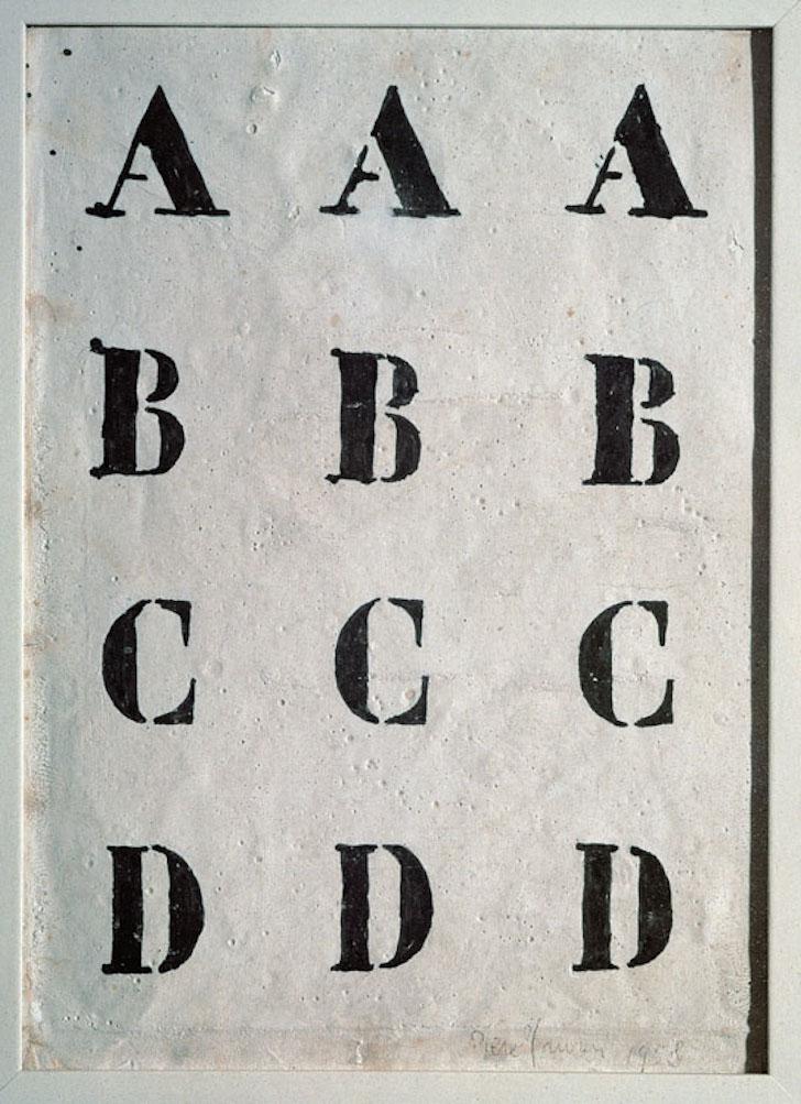 ID 49. Alfabeto, 1958 inchiostro e caolino su tela, 25x18 cm Collezione privata