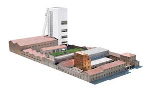 Rendering del progetto Fondazione Prada, che inaugurerà a Milano il 9 Maggio 2015, in Piazza Isarco, tra via Ripamonti e Corso Lodi