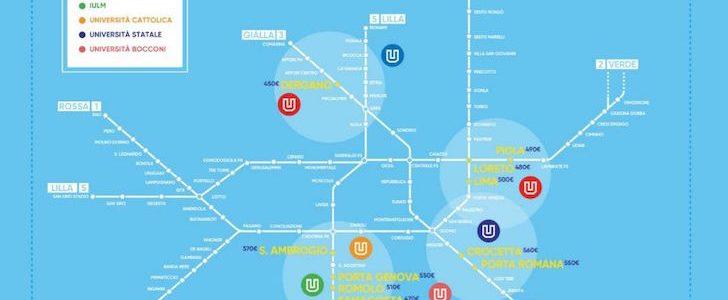 Mappa delle 10 fermate della metro di milano dove prendere for Design della mappa di casa