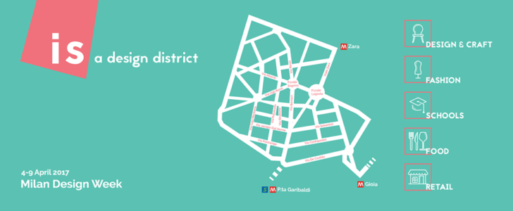 Isola design district mappa del fuorisalone 2017 sotto for Milano design district