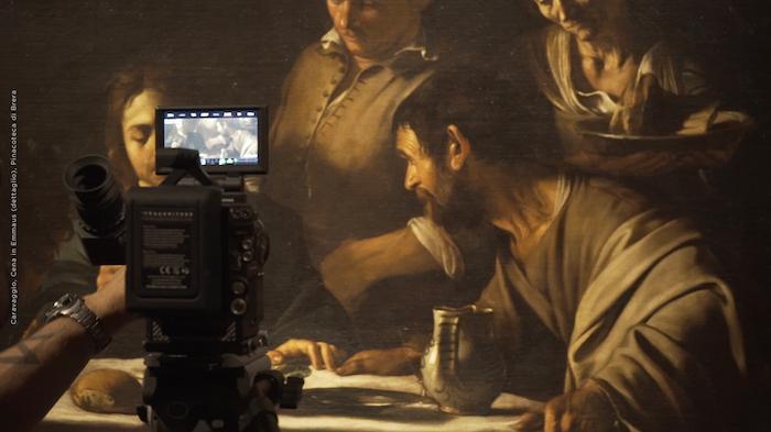 Pinacoteca di Brera – Cena in Emmaus (seconda versione) - riprese in 8K per il film 'Caravaggio - l'Anima e il Sangue'